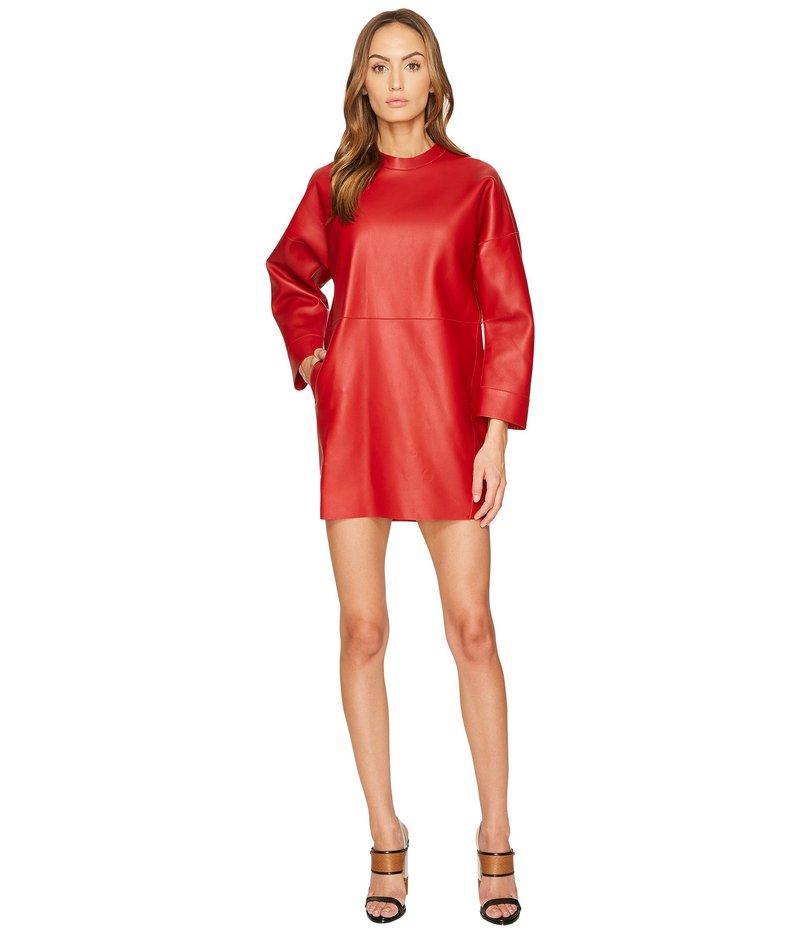 ディースクエアード レディース ワンピース トップス Boned Leather Dress Red