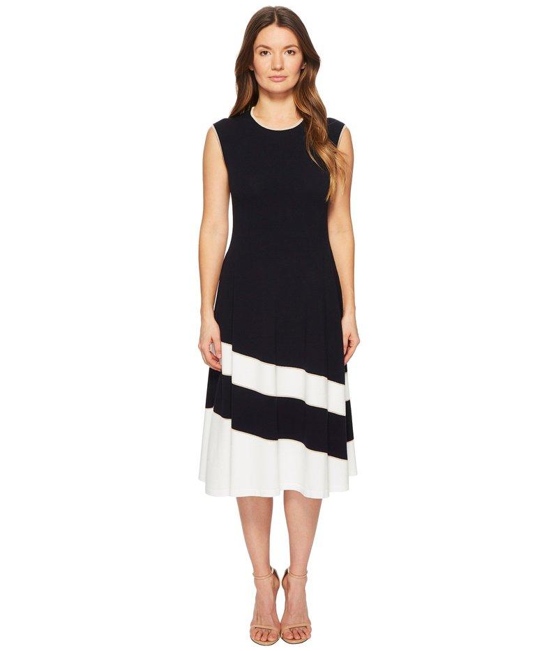 エスカーダ レディース ワンピース トップス Dariar Sleeveless Asymmetrical Stripe Midi Knit Dress Navy