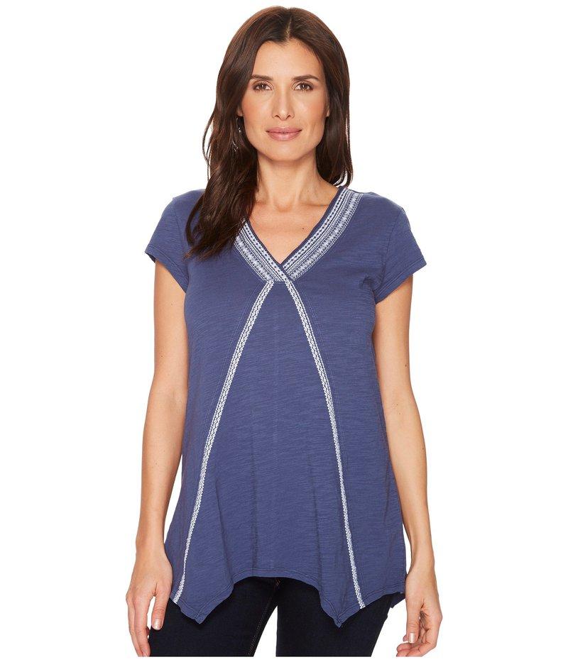 モッドドック レディース シャツ トップス Slub Jersey Embroidered Short Sleeve T-Shirt w/ Pointed Hem New Navy