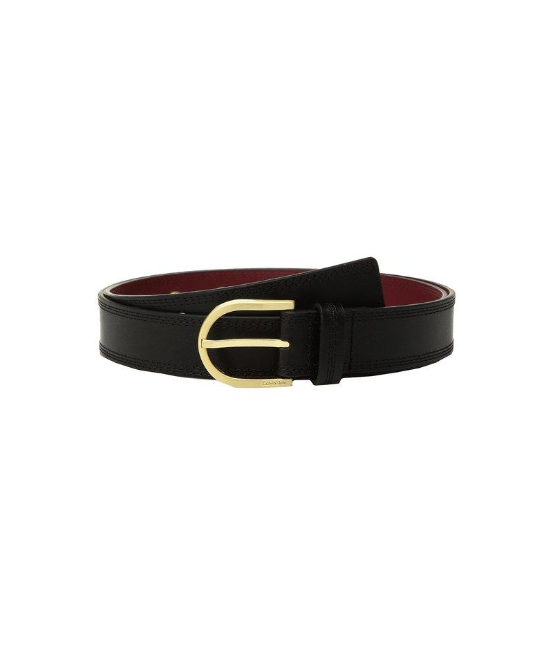 カルバンクライン レディース ベルト アクセサリー Stitched Flat Strap Belt w/ Eyelets Black
