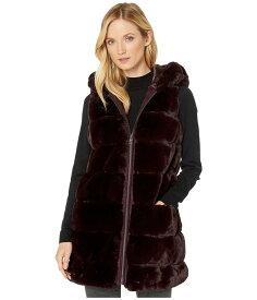 ヴィアスピガ レディース コート アウター Wide Grooved Faux Fur Reversible Hooded Vest Burgundy