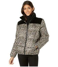 リーバイス レディース コート アウター Mixed Media Printed Puffer Jacket Black/Leopard
