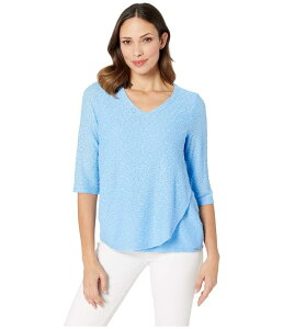 FDJフレンチドレッシングジーンズ レディース シャツ トップス Textured Solid V-Neck 3/4 Sleeve Top with Overlapping Front Detail Sky