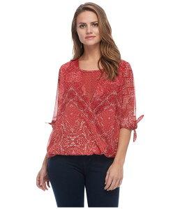 FDJフレンチドレッシングジーンズ レディース シャツ トップス Batik Print Semi Short Tie Sleeve Fooler Blouse Red