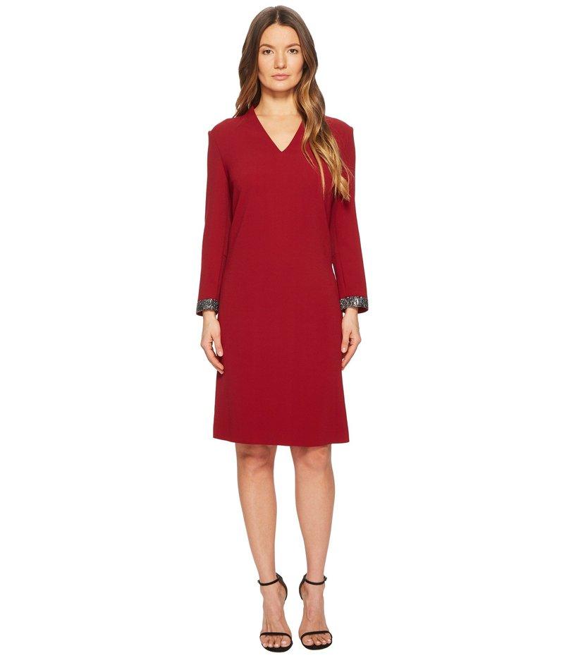 エスカーダ レディース ワンピース トップス Duava Long Sleeve V-Neck Dress Red