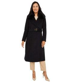 コールハーン レディース コート アウター Slick Wool Wrap Coat with Faux Fox Collar Black