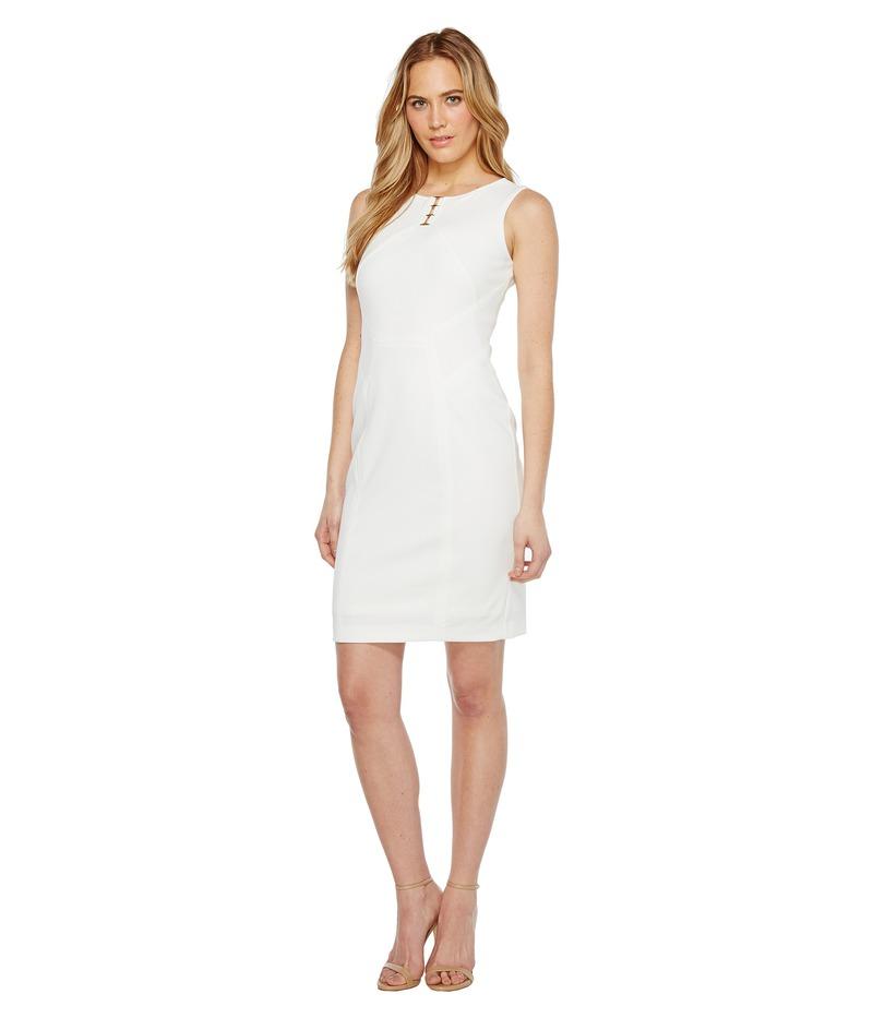 イヴァンカ・トランプ レディース ワンピース トップス Sleeveless Scuba Dress with Hardware Ivory