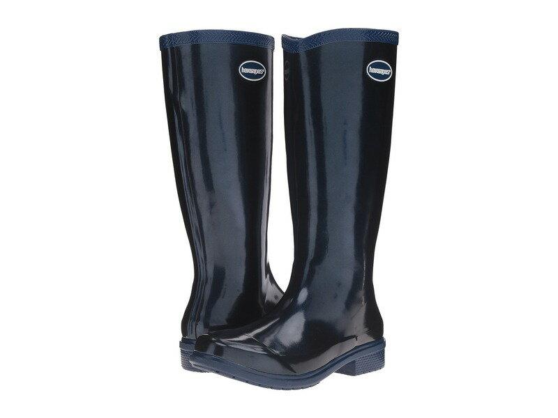 ハワイアナス レディース ブーツ・レインブーツ シューズ Galochas Hi Metallic Rain Boot Navy Blue Metallic
