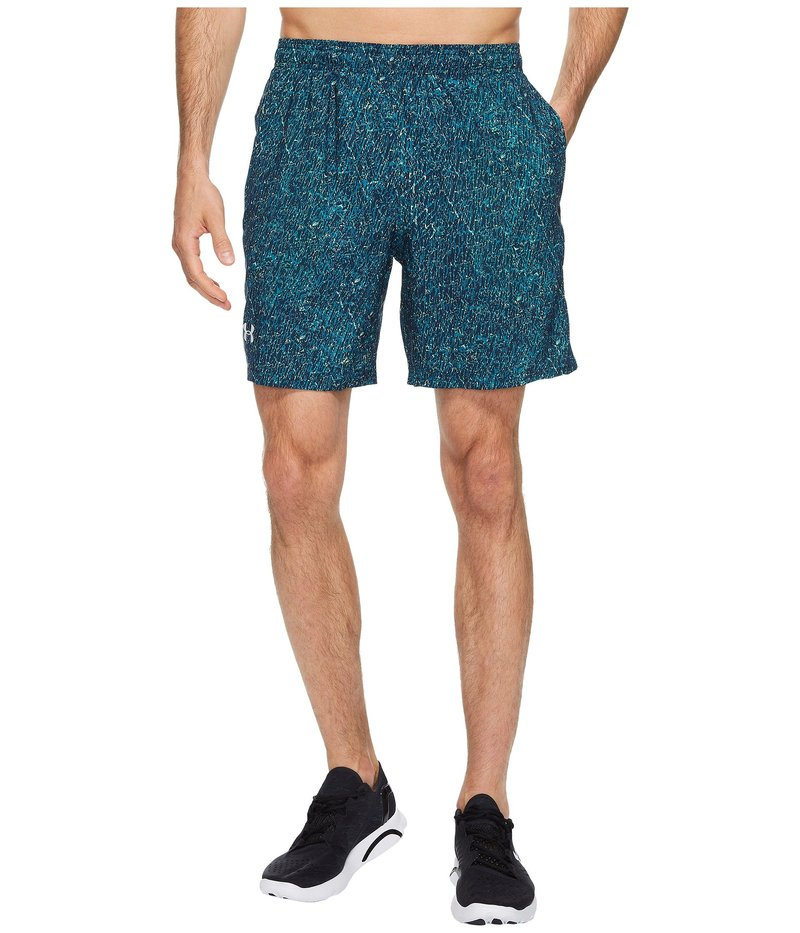 アンダーアーマー メンズ ハーフパンツ・ショーツ ボトムス UA Launch Stretch Woven Print Shorts Bayou Blue/Quirky Lime/Reflective