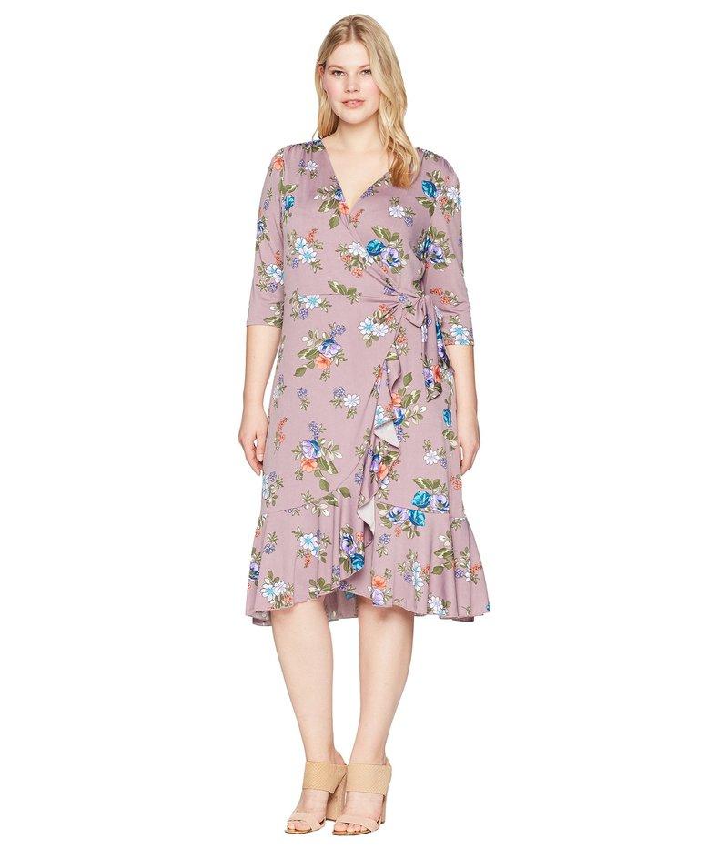 キヨナ レディース ワンピース トップス Flirty Flounce Wrap Dress Lilac Floral Print