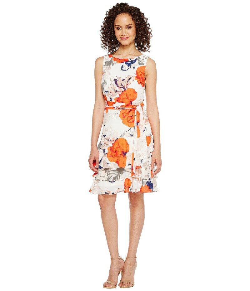 イヴァンカ・トランプ レディース ワンピース トップス Georgette Sleeveless Ruffle Hem Floral Print Belted Tie Dress Ivory/Chili