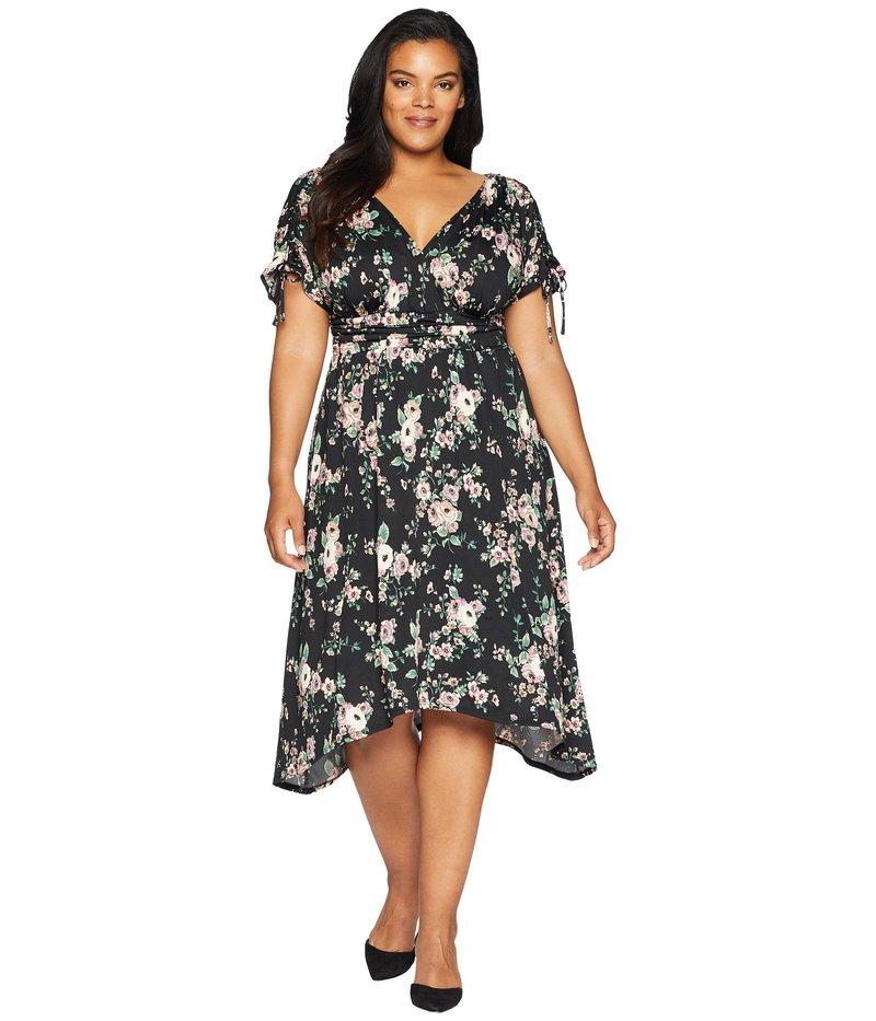 キヨナ レディース ワンピース トップス Tessa Ruched Dress Black Floral Print