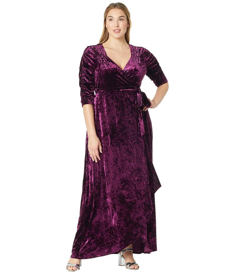 キヨナ レディース ワンピース トップス Cara Velvet Wrap Dress Mystic Plum