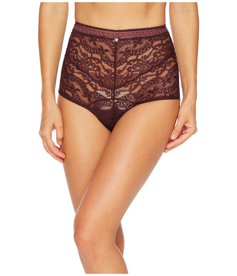 ヴェルサーチ レディース パンツ アンダーウェア High Waisted Lace Greek Panty Burgundy