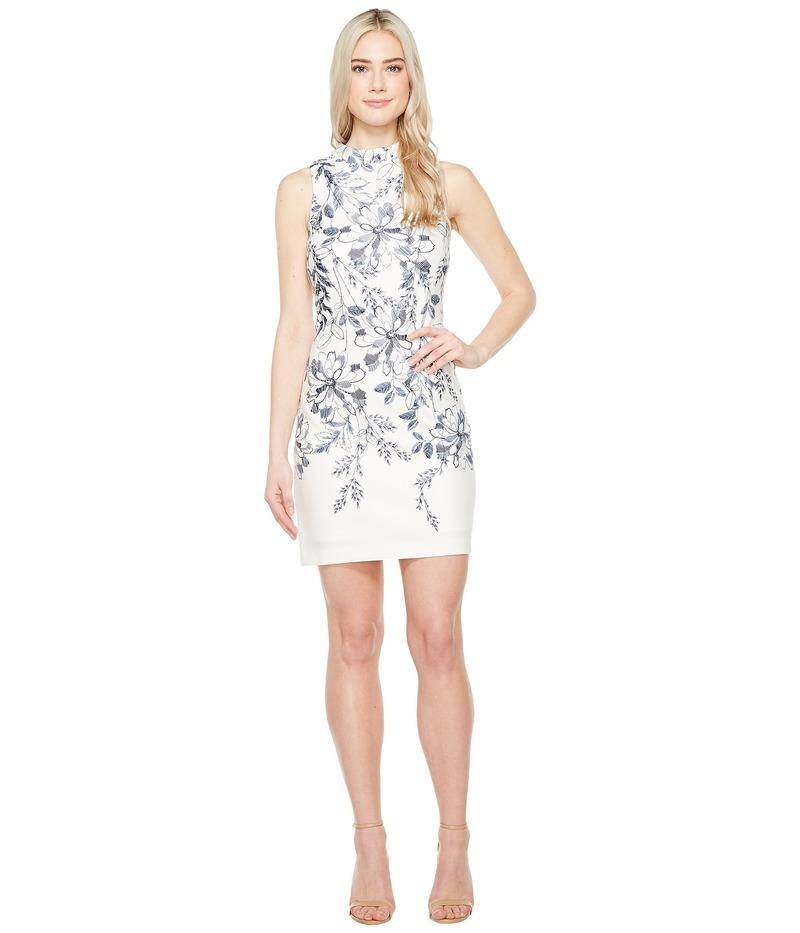 イヴァンカ・トランプ レディース ワンピース トップス Printed Floral Scuba Dress Ivory/Navy