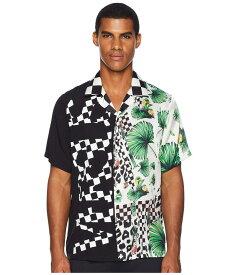 ヴェルサス ヴェルサーチ メンズ シャツ トップス Checkerboard Tropical Button Down Black