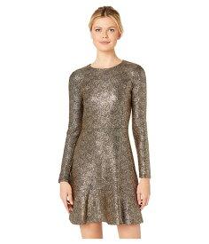 マイケルコース レディース ワンピース トップス Foil Knit Long Sleeve Flounce Dress Black/Gold