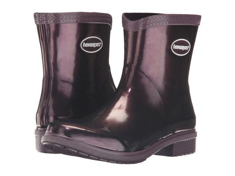 ハワイアナス レディース ブーツ・レインブーツ シューズ Galochas Low Metallic Rain Boot Aubergine Metallic