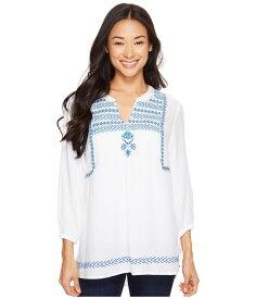 ハットレイ レディース シャツ トップス Embroidered Blouse White Royal/Turquoise Lariat