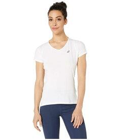 アシックス レディース シャツ トップス Short Sleeve V-Neck Top Brilliant White