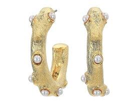 """ケネスジェイレーン レディース ピアス・イヤリング アクセサリー 1"""" Gold Hoop Post Earrings with Pearl Cabochons Gold/Pearl"""