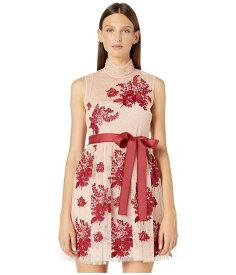 レッドヴァレンティノ レディース ワンピース トップス Floral Tapestry Embroidery, Tulle and Point D'Esprit Dress Bonbon/Lacca