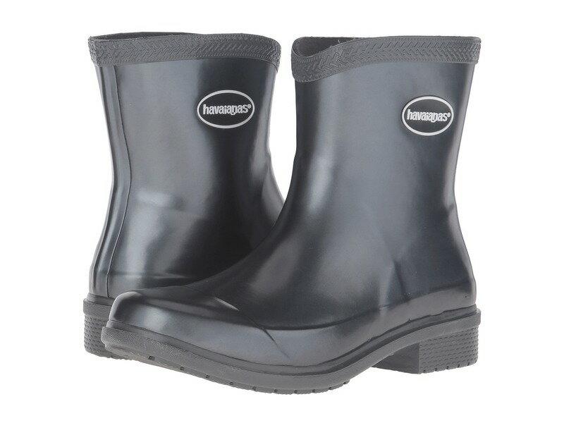 ハワイアナス レディース ブーツ・レインブーツ シューズ Galochas Low Metallic Rain Boot Dark Grey Metallic