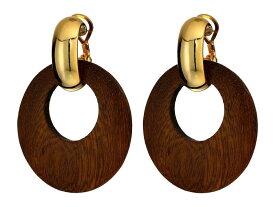 ケネスジェイレーン レディース ピアス・イヤリング アクセサリー Dark Wood Hoop with Polished Gold Clutchless Pierced Earrings Polished Gold/Dark Wood