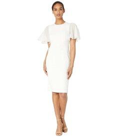 カルバンクライン レディース ワンピース トップス Ruffle Chiffon Sleeve Sheath Dress Cream