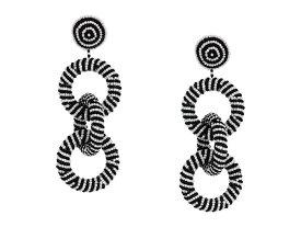 """ケネスジェイレーン レディース ピアス・イヤリング アクセサリー 4"""" Black/White Seedbead Three Rings Post Earrings Black/White"""