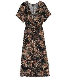 ボベー レディース ワンピース トップス Kimono Sleeve V-Neck Dress Black Tropical