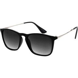 エスダブリュグローバル メンズ サングラス・アイウェア アクセサリー Dual Tone Retro Square Frame UV400 Sunglasses Black Silver Gradient
