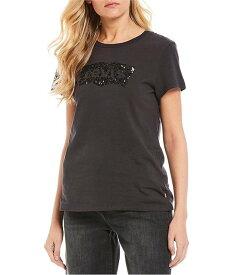 リーバイス レディース Tシャツ トップス Sequin Batwing Logo Graphic Tee Black