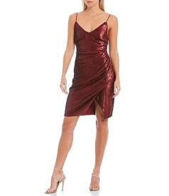 アストール レディース ワンピース トップス Yours Truly Metallic Sequin Fitted Dress Maraschino Red