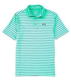 アンダーアーマー レディース シャツ トップス Golf HeatGearR Short-Sleeve Loose Tour Stripe Playoff Polo 2.0 Vapor Green/Black/Pitch Gray