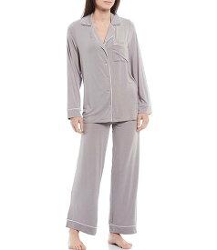 ベアフットドリームス レディース ナイトウェア アンダーウェア Luxe Milk Jersey Piped Pajama Set Pewter