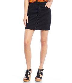 ゲス レディース スカート ボトムス Mara Exposed Button Front Denim Skirt Black
