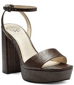 ヴィンスカムート レディース サンダル シューズ Chastin Croco Embossed Platform Dress Sandals Brown