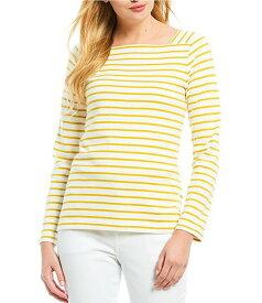 ジュールズ レディース Tシャツ トップス Matilde Square Neck Long Sleeve Nautical Stripe Knit Cotton Top Cream Gold Stripe