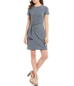 マイケルコース レディース ワンピース トップス Aziza Bold Tile Print Matte Jersey Tie Waist Sheath Dress True Navy/Sea Green