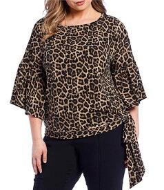 マイケルコース レディース シャツ トップス Plus Size Leopard Print Bell Sleeve Side Tie Jersey Top Dark Camel