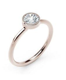 フォーエバーマーク レディース リング アクセサリー Tribute Collection Diamond (1/3 ct. t.w.) Ring with Mill-Grain in 18k Yellow White and Rose Gold Rose Gold