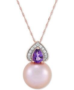ホノラ レディース ネックレス・チョーカー・ペンダントトップ アクセサリー Cultured Pink Ming Pearl (13mm) Diamond (1/10 ct. t.w.) & Amethyst (5/8 ct. t.w.) 18 Pendant Necklace in 14k Gold Pink