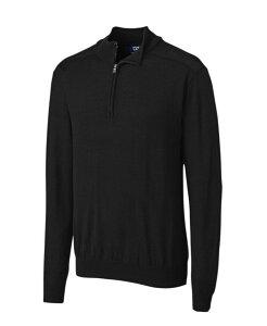 カッターアンドバック メンズ ニット・セーター アウター Cutter and Buck Men's Big and Tall Long Sleeves Douglas Half Zip Mock Sweater Black