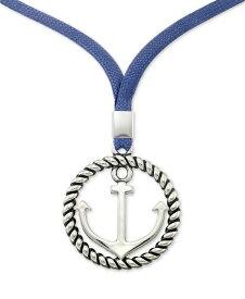 シモン アイ スミス レディース ネックレス・チョーカー・ペンダントトップ アクセサリー Anchor & Blue Linen Cord Pendant Necklace in Stainless Steel 22 + 2 extender Stainless Steel