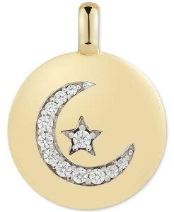 チャームバー レディース ネックレス・チョーカー・ペンダントトップ アクセサリー Swarovski Zirconia Moon & Star Follow your Dreams Reversible Charm Pendant in 14k Gold-Plated Sterling Silver Gold