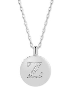 チャームバー レディース ネックレス・チョーカー・ペンダントトップ アクセサリー Swarovski Zirconia Initial Reversible Charm Pendant Necklace in Sterling Silver Adjustable 16-20 Z