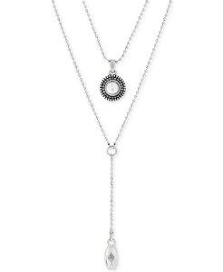 ラッキーブランド レディース ネックレス・チョーカー・ペンダントトップ アクセサリー Silver-Tone Freshwater Pearl Two-Row Y Long Necklace Silver