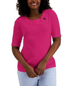 ケレンスコット レディース シャツ トップス Cotton Tie-Detail Elbow-Sleeve Top Pink Peacock