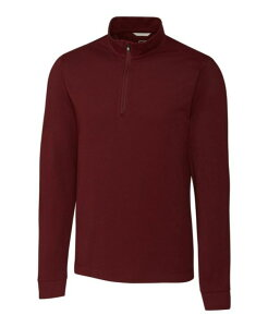 カッターアンドバック メンズ Tシャツ トップス Men's Advantage Zip Mock Bordeaux